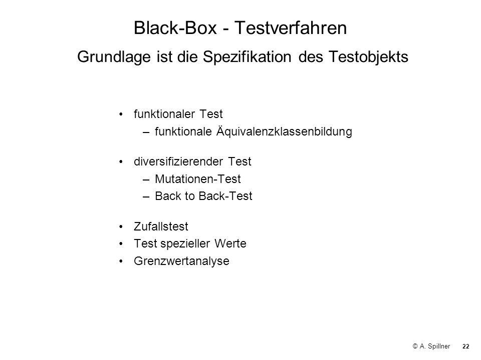 Black-Box - Testverfahren Grundlage ist die Spezifikation des Testobjekts