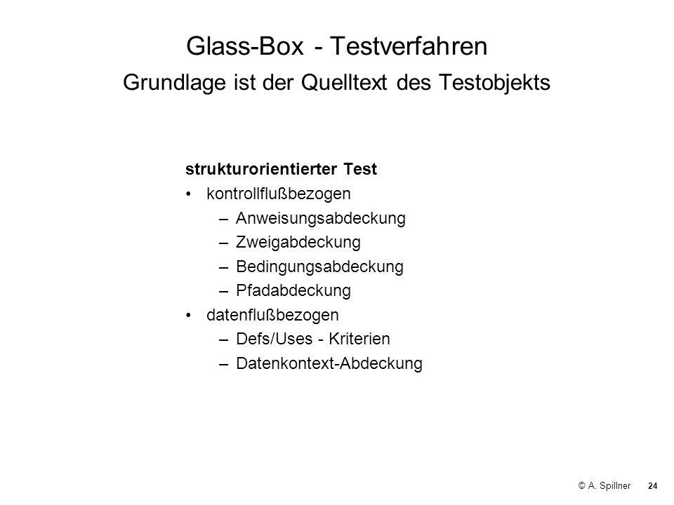 Glass-Box - Testverfahren Grundlage ist der Quelltext des Testobjekts