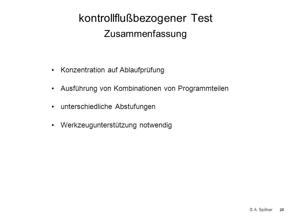 kontrollflußbezogener Test Zusammenfassung