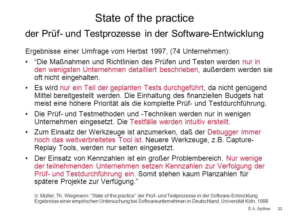 State of the practice der Prüf- und Testprozesse in der Software-Entwicklung
