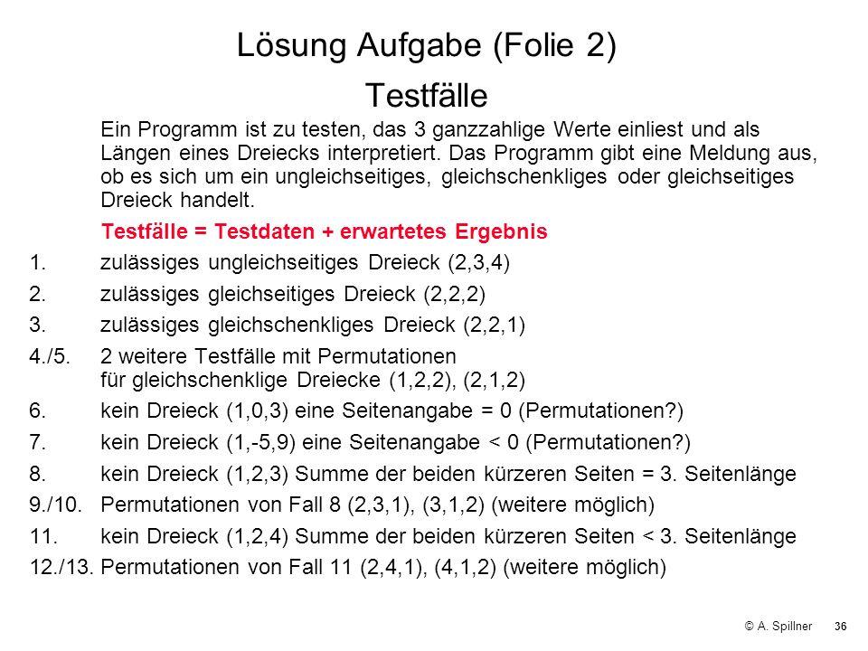 Lösung Aufgabe (Folie 2) Testfälle