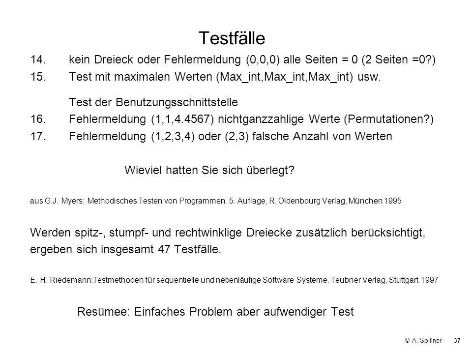 Testfälle 14. kein Dreieck oder Fehlermeldung (0,0,0) alle Seiten = 0 (2 Seiten =0 )