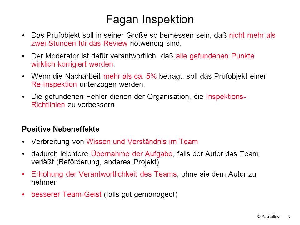 Fagan Inspektion Das Prüfobjekt soll in seiner Größe so bemessen sein, daß nicht mehr als zwei Stunden für das Review notwendig sind.