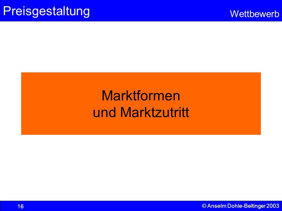 Marktformen und Marktzutritt