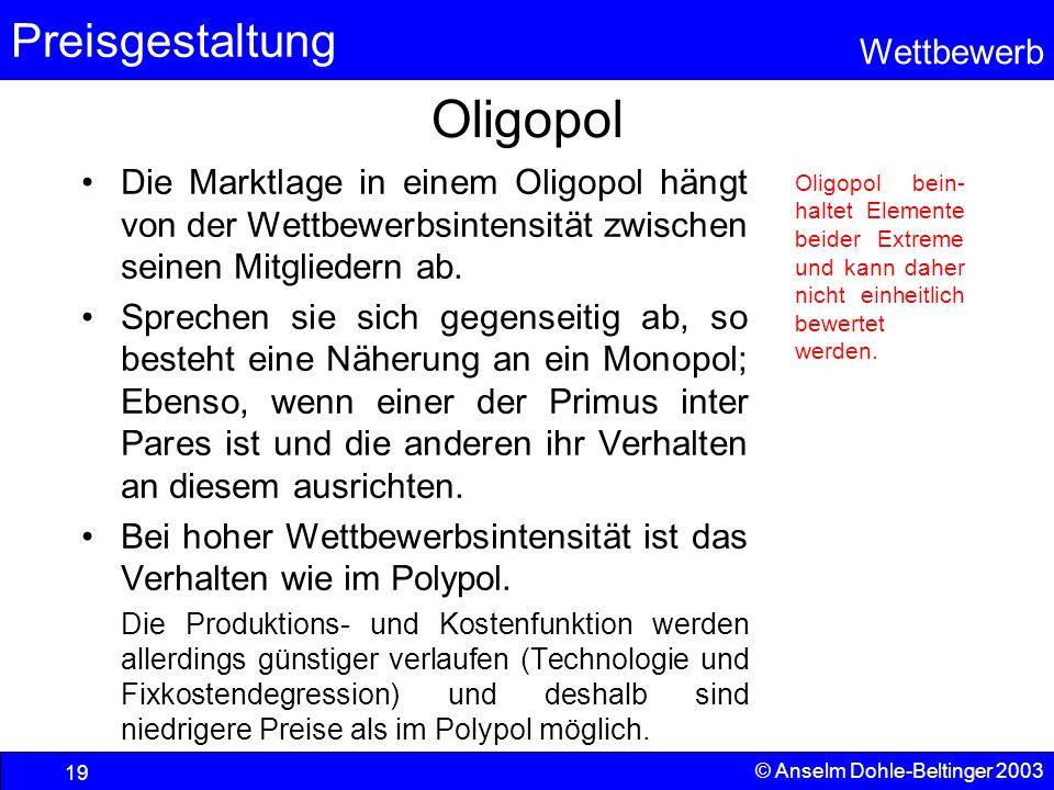 Oligopol Die Marktlage in einem Oligopol hängt von der Wettbewerbsintensität zwischen seinen Mitgliedern ab.