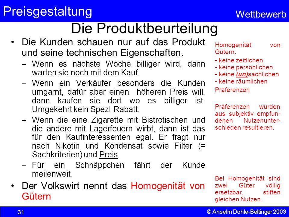 Die Produktbeurteilung