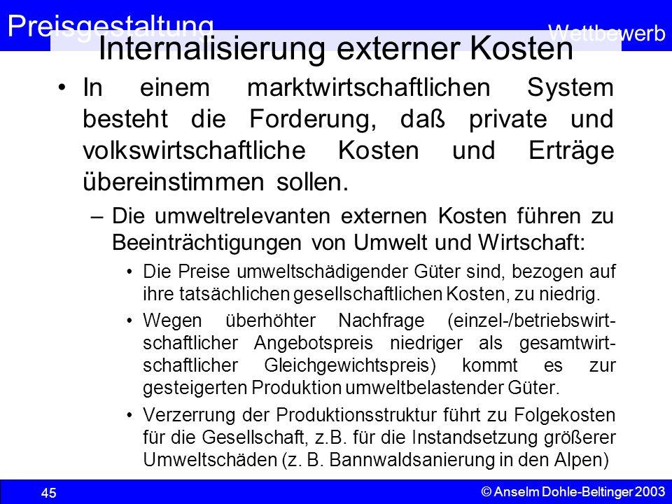 Internalisierung externer Kosten