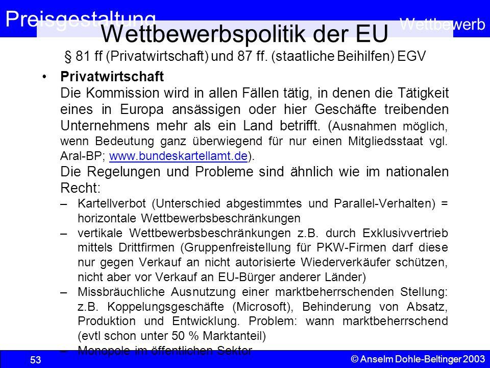 Wettbewerbspolitik der EU § 81 ff (Privatwirtschaft) und 87 ff