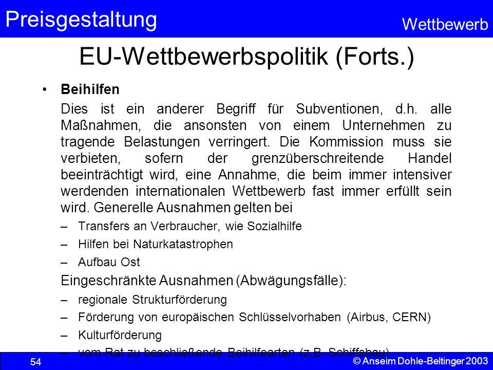 EU-Wettbewerbspolitik (Forts.)