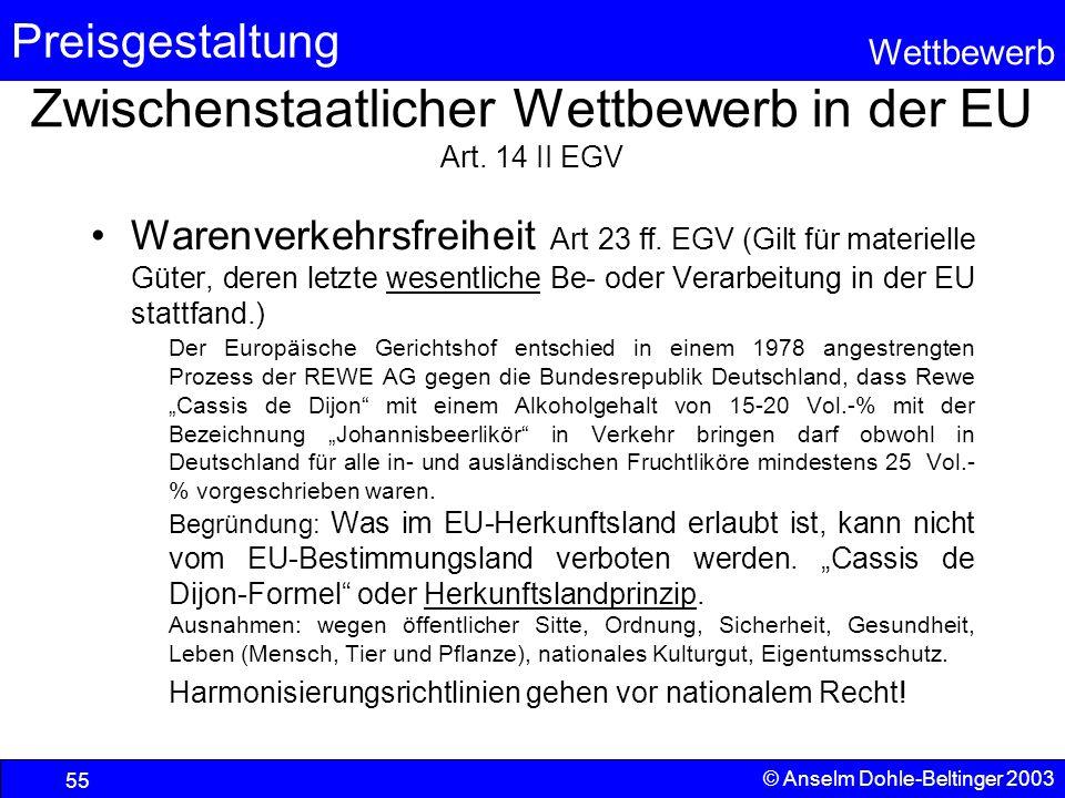 Zwischenstaatlicher Wettbewerb in der EU Art. 14 II EGV