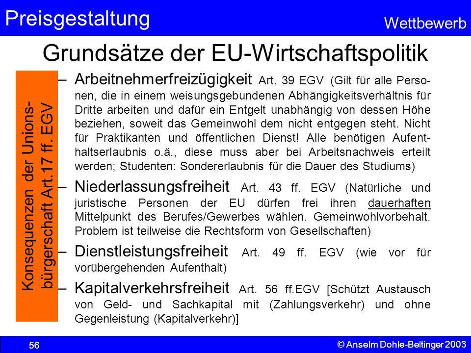 Grundsätze der EU-Wirtschaftspolitik