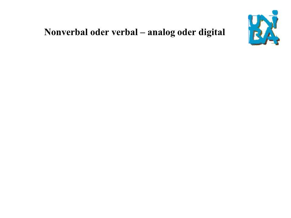 Nonverbal oder verbal – analog oder digital