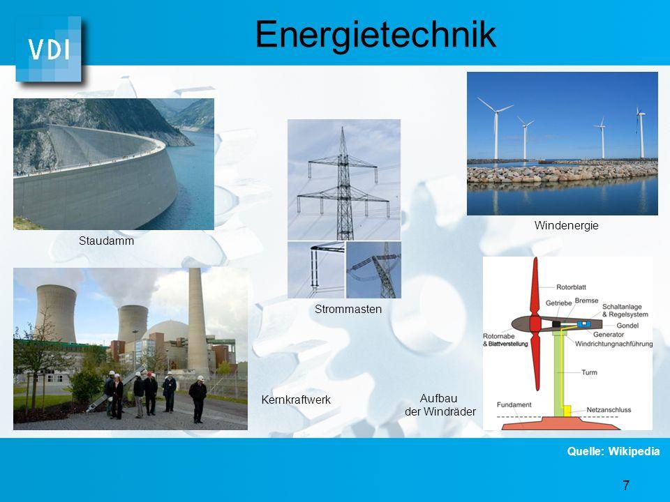 Energietechnik Windenergie Staudamm Strommasten Kernkraftwerk Aufbau