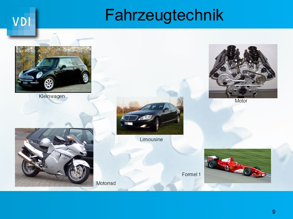 Fahrzeugtechnik Kleinwagen Motor Limousine Formel 1 Motorrad