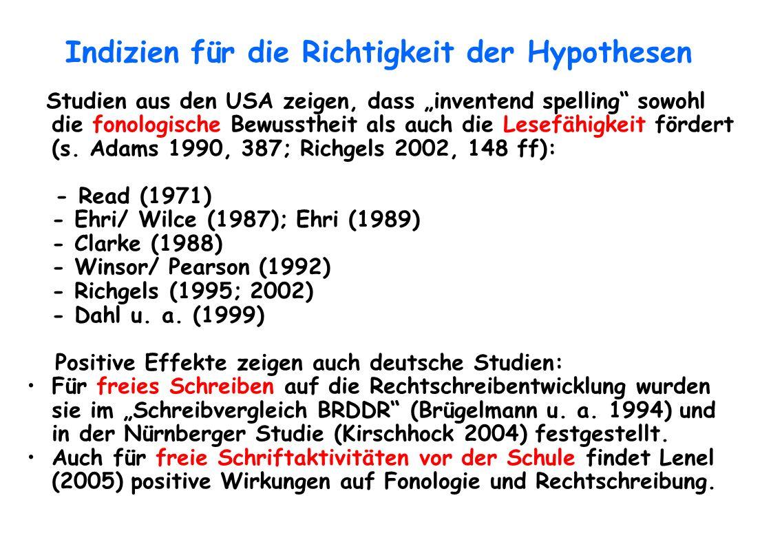 Indizien für die Richtigkeit der Hypothesen