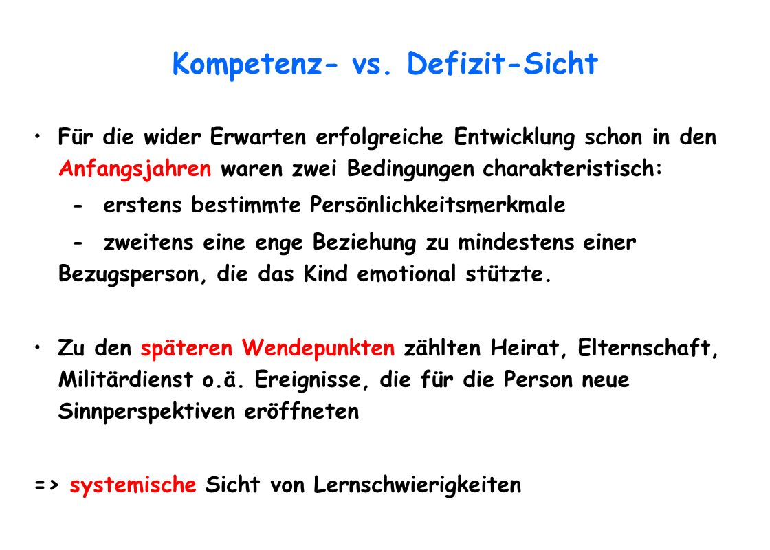 Kompetenz- vs. Defizit-Sicht