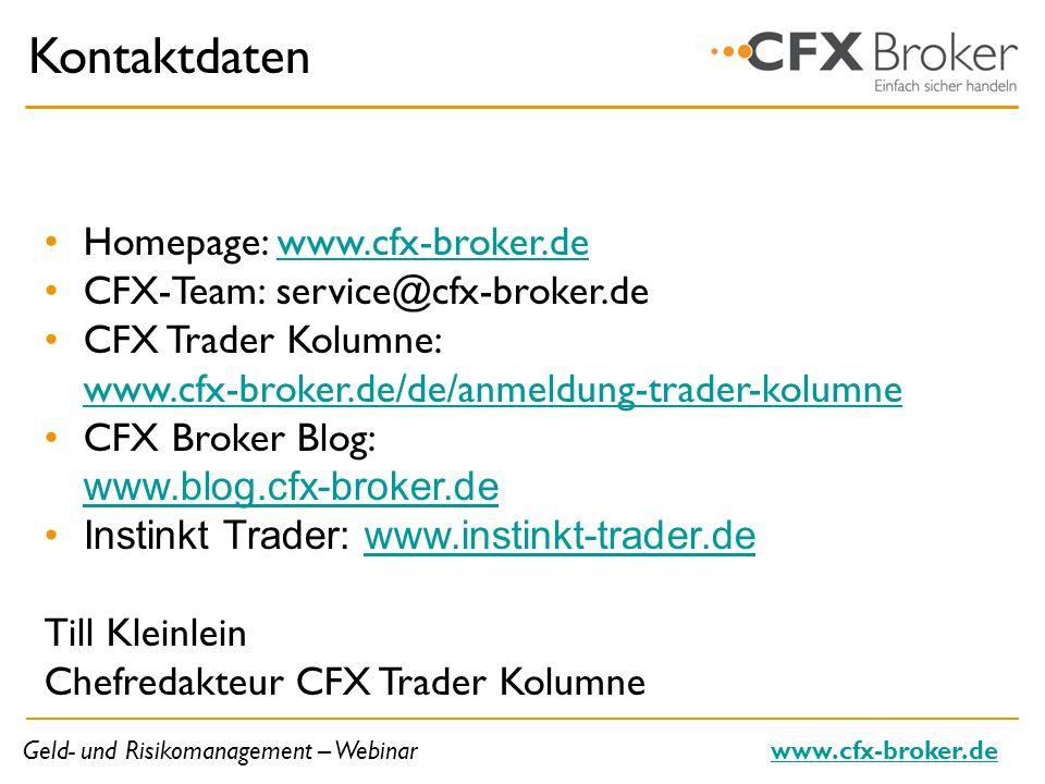 Kontaktdaten Homepage: www.cfx-broker.de
