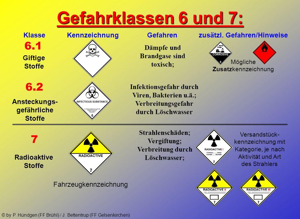 Gefahrklassen 6 und 7:Klasse Kennzeichnung Gefahren zusätzl. Gefahren/Hinweise.