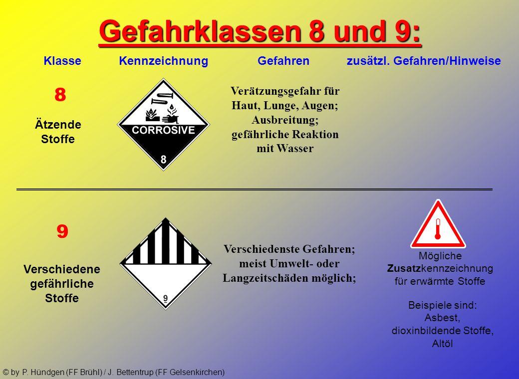 Gefahrklassen 8 und 9:Klasse Kennzeichnung Gefahren zusätzl. Gefahren/Hinweise.