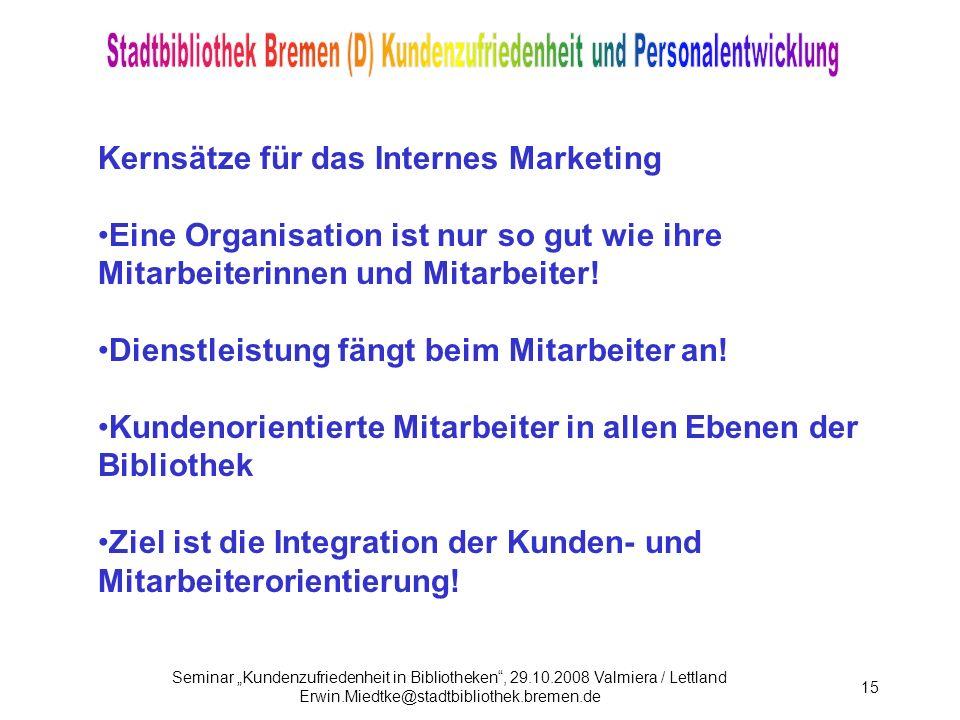 Kernsätze für das Internes Marketing