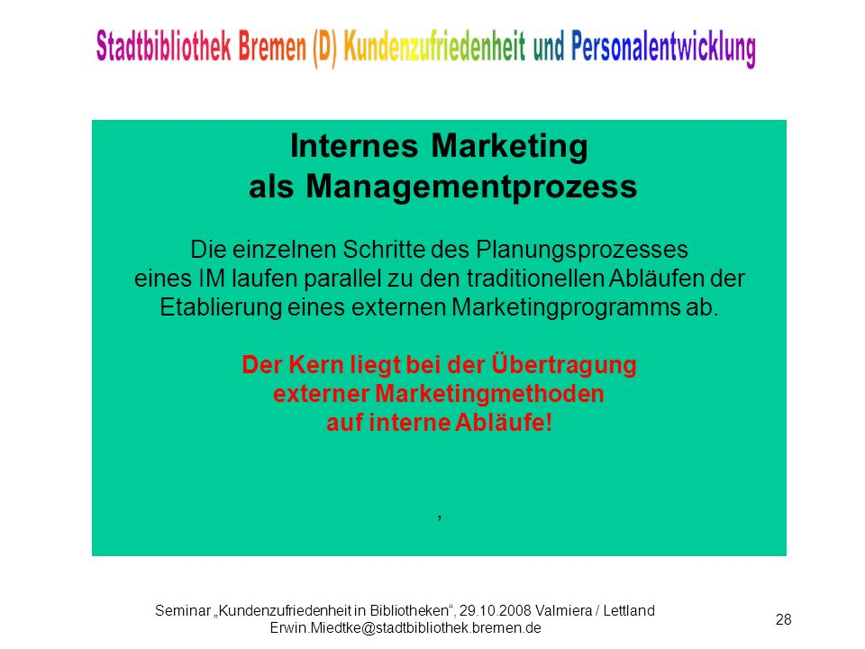 Internes Marketing als Managementprozess