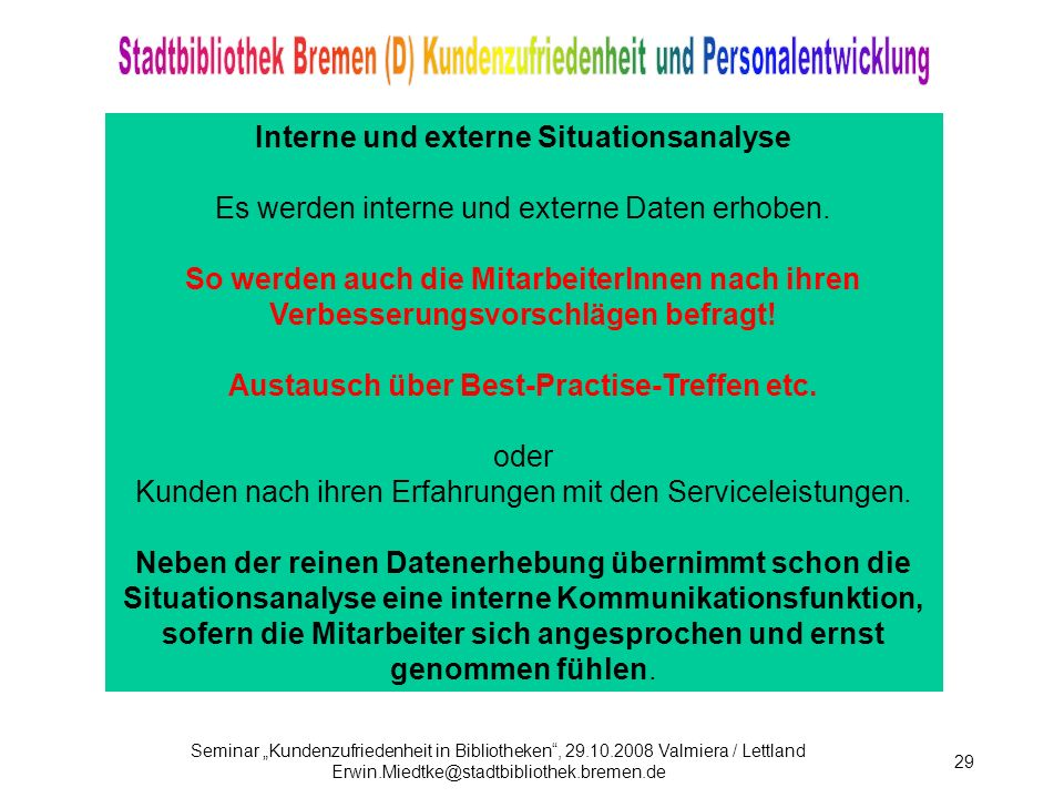 Interne und externe Situationsanalyse