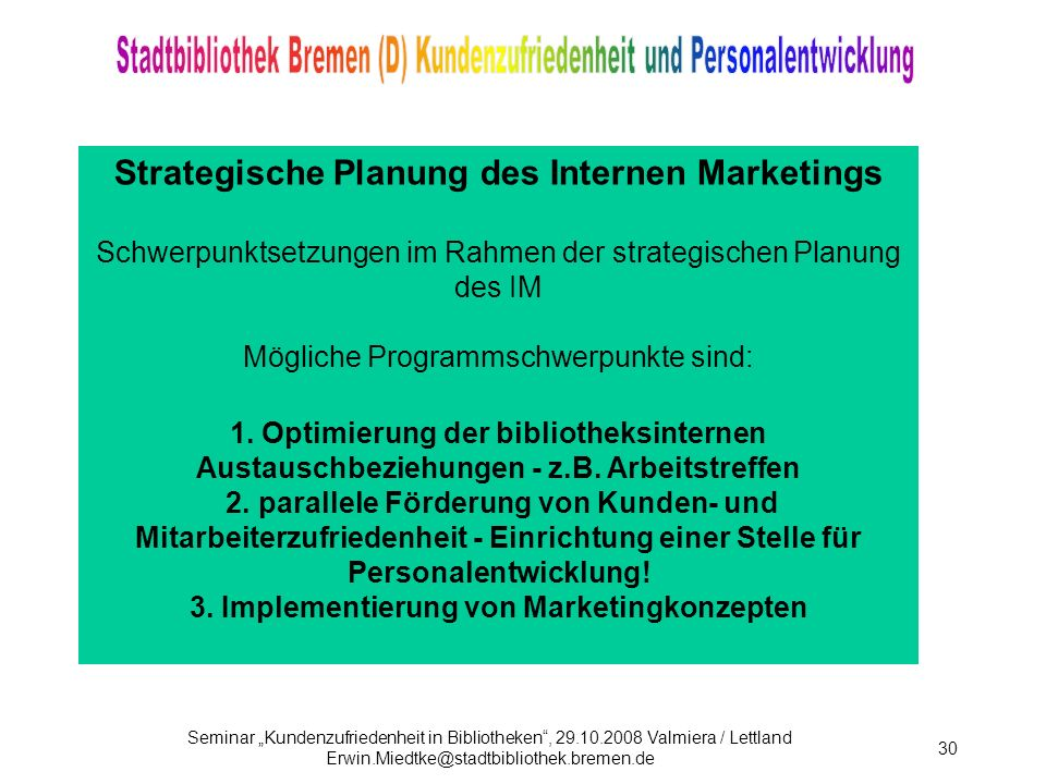 Strategische Planung des Internen Marketings