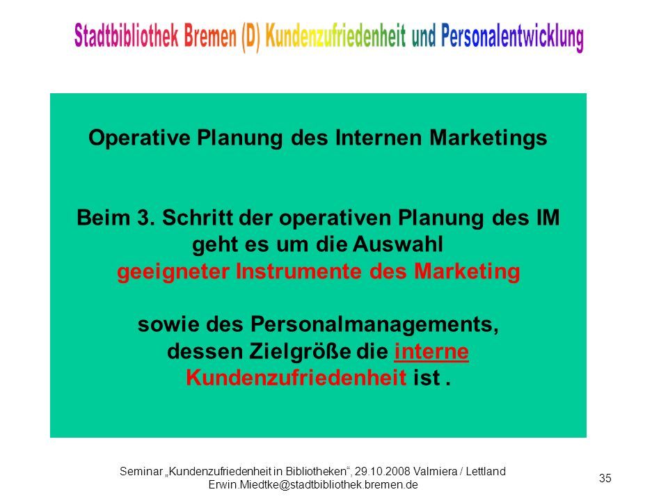 Operative Planung des Internen Marketings