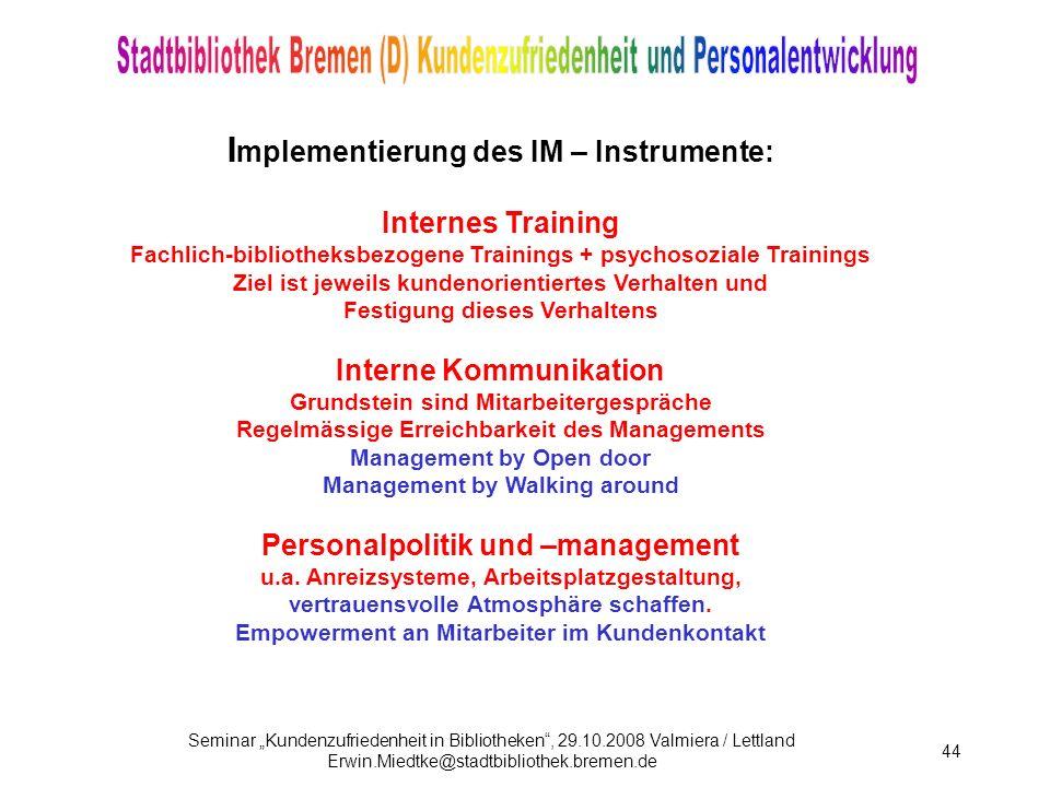 Implementierung des IM – Instrumente: