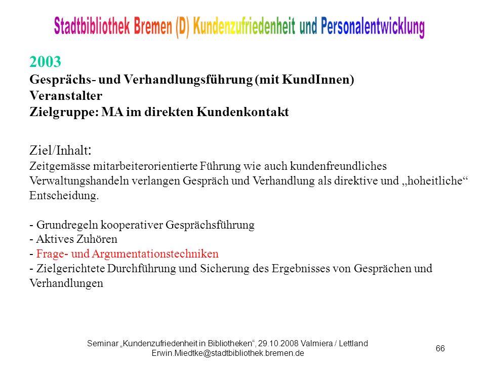 2003 Gesprächs- und Verhandlungsführung (mit KundInnen) Veranstalter
