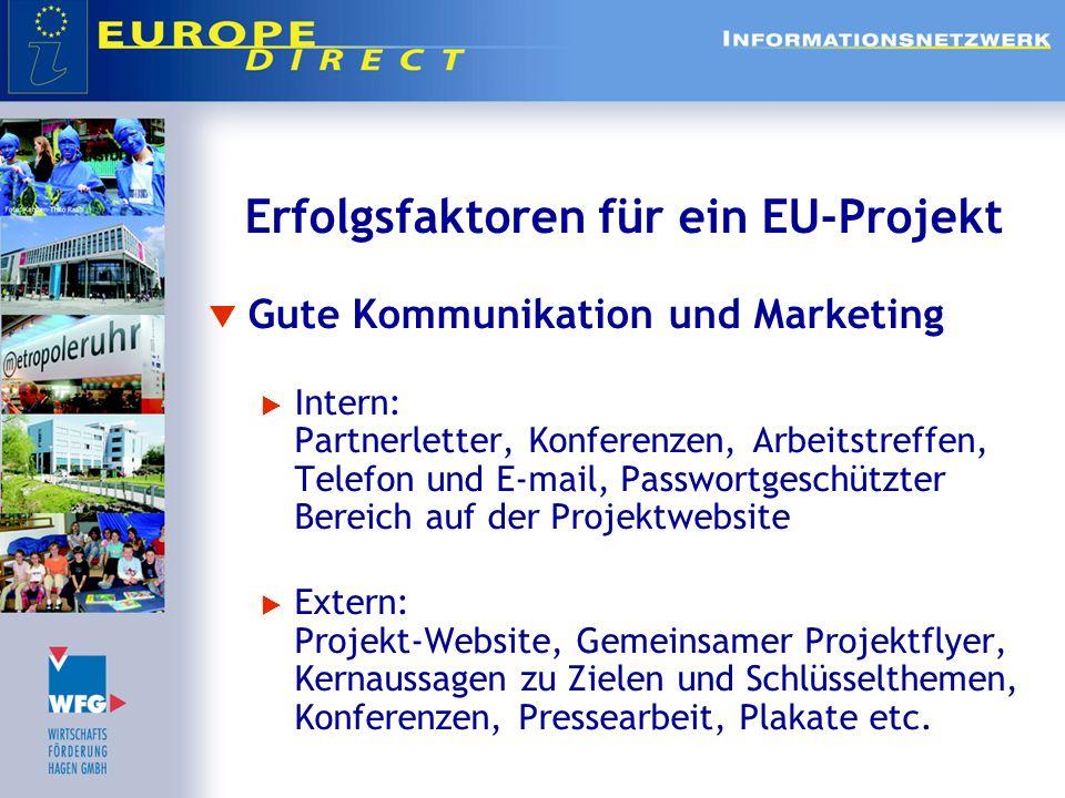 Erfolgsfaktoren für ein EU-Projekt Gute Kommunikation und Marketing