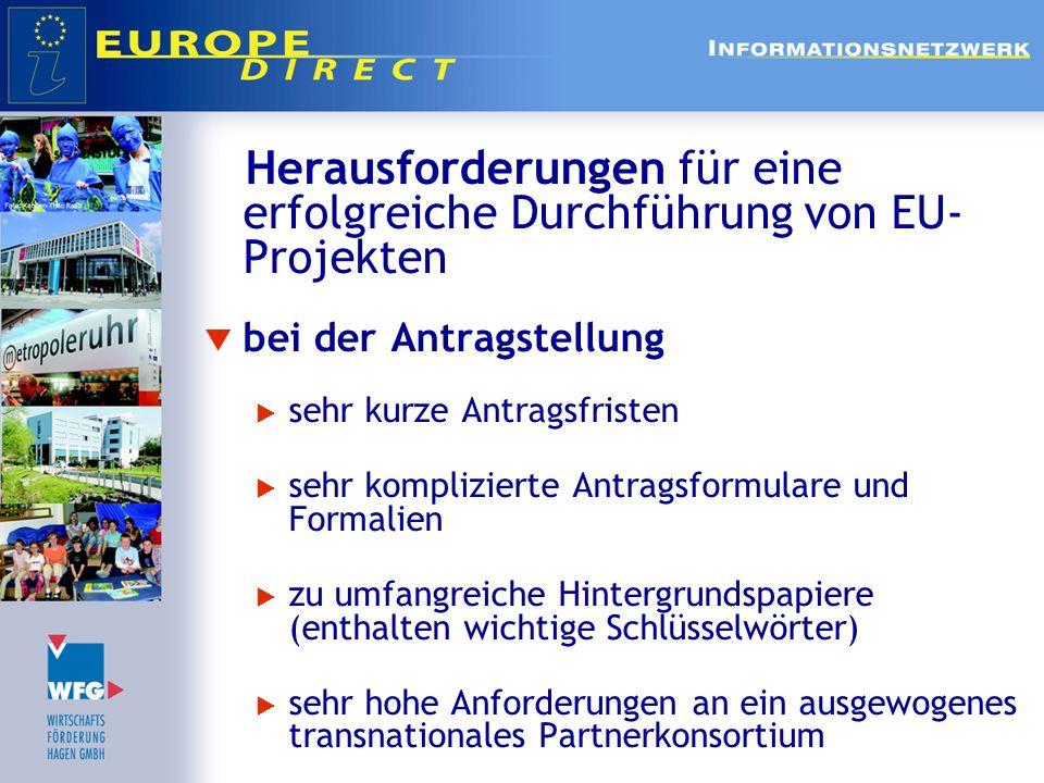 Herausforderungen für eine erfolgreiche Durchführung von EU-Projekten
