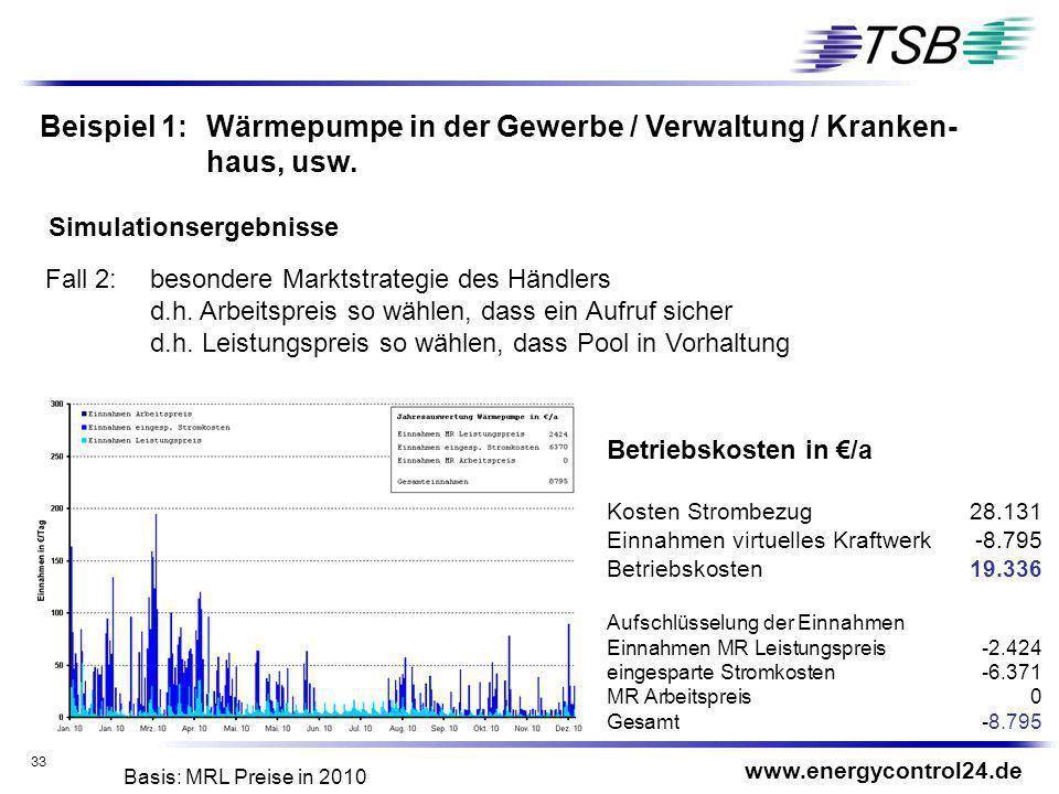 Beispiel 1: Wärmepumpe in der Gewerbe / Verwaltung / Kranken-