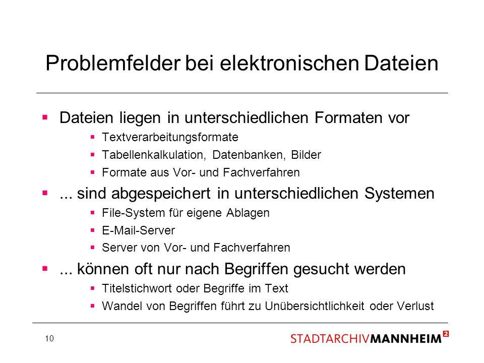 Problemfelder bei elektronischen Dateien