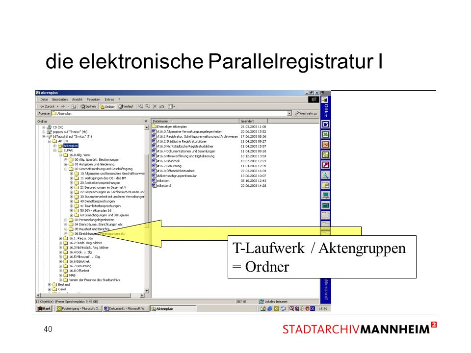 die elektronische Parallelregistratur I