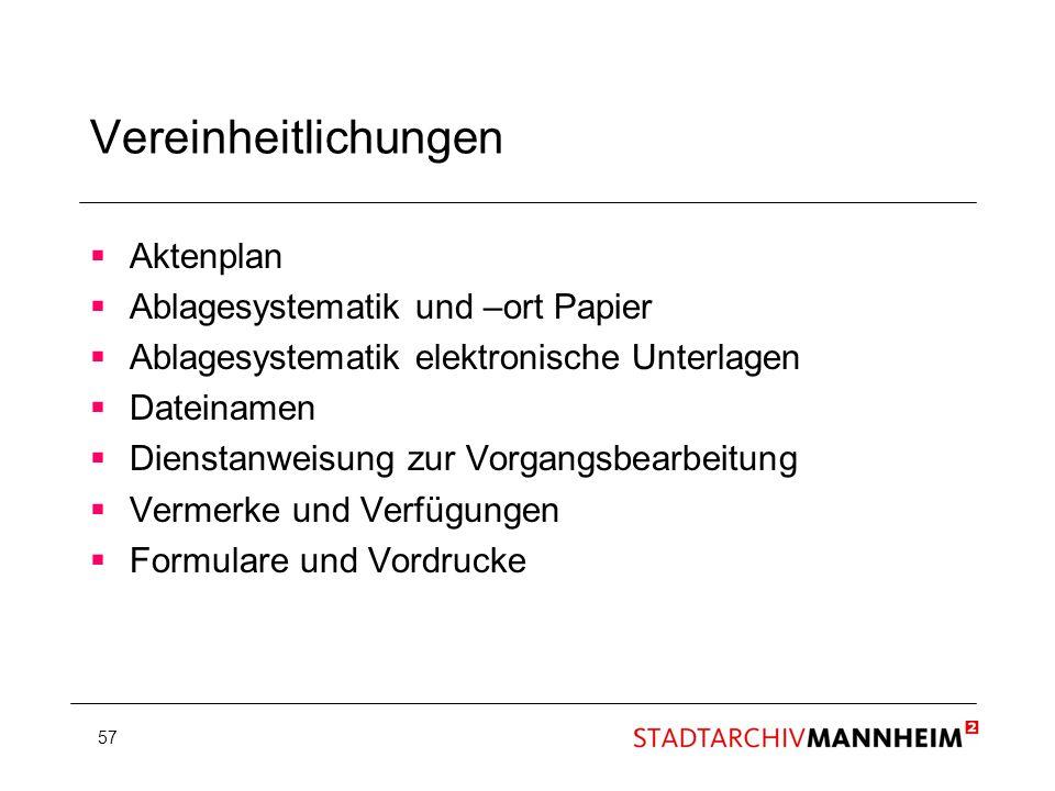 Vereinheitlichungen Aktenplan Ablagesystematik und –ort Papier