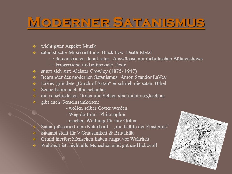 Moderner Satanismus wichtigster Aspekt: Musik