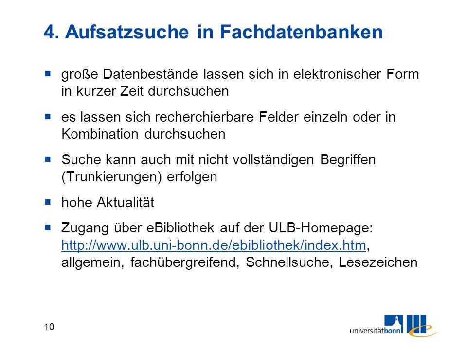 4. Aufsatzsuche in Fachdatenbanken