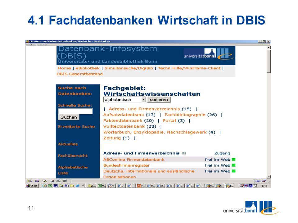 4.1 Fachdatenbanken Wirtschaft in DBIS