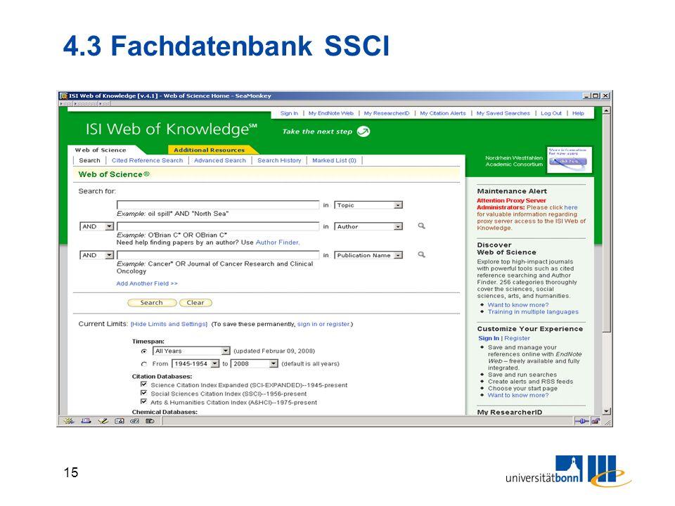 4.3 Fachdatenbank SSCI