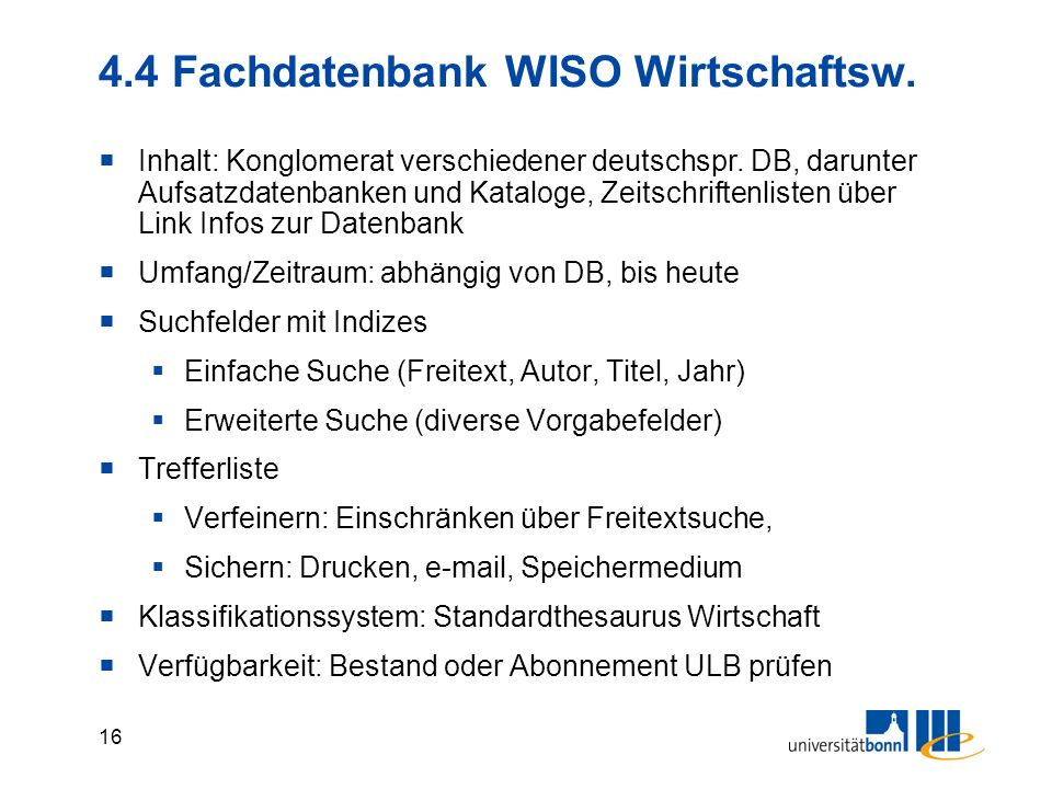 4.4 Fachdatenbank WISO Wirtschaftsw.