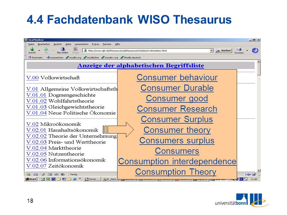 4.4 Fachdatenbank WISO Thesaurus