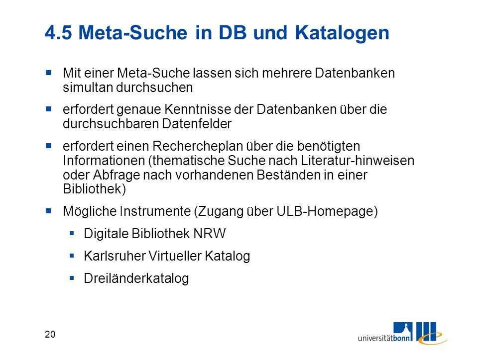 4.5 Meta-Suche in DB und Katalogen