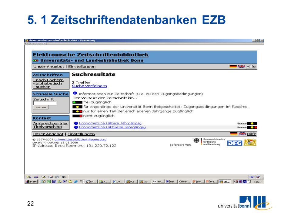 5. 1 Zeitschriftendatenbanken EZB