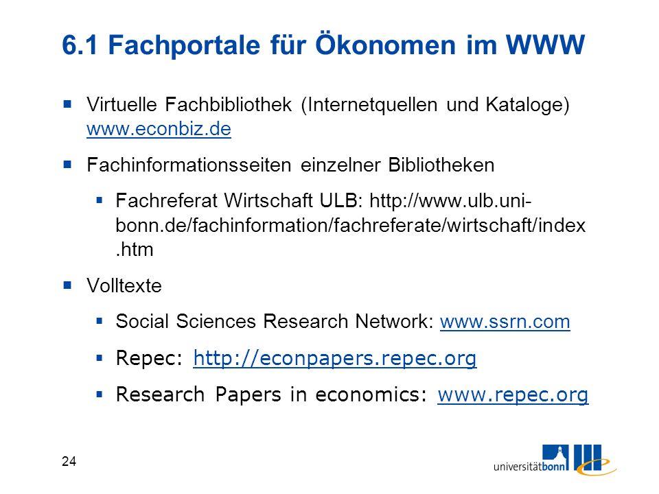 6.1 Fachportale für Ökonomen im WWW