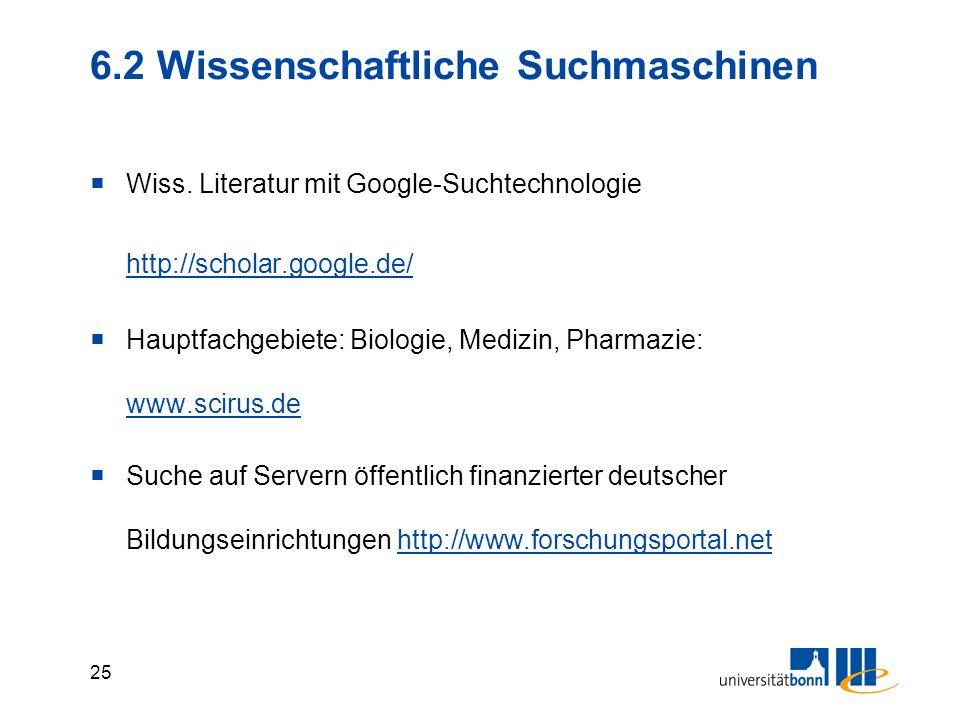6.2 Wissenschaftliche Suchmaschinen
