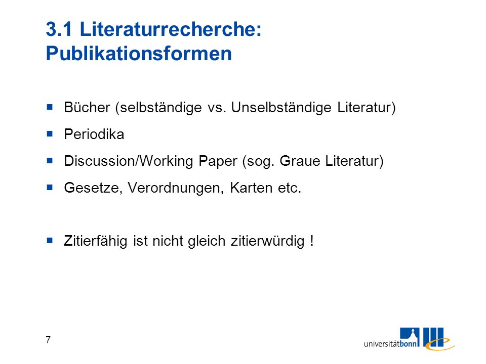 3.1 Literaturrecherche: Publikationsformen