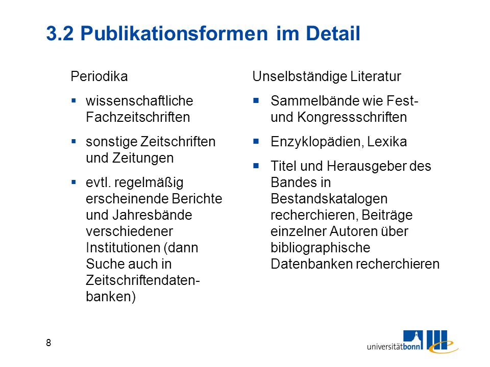 3.2 Publikationsformen im Detail