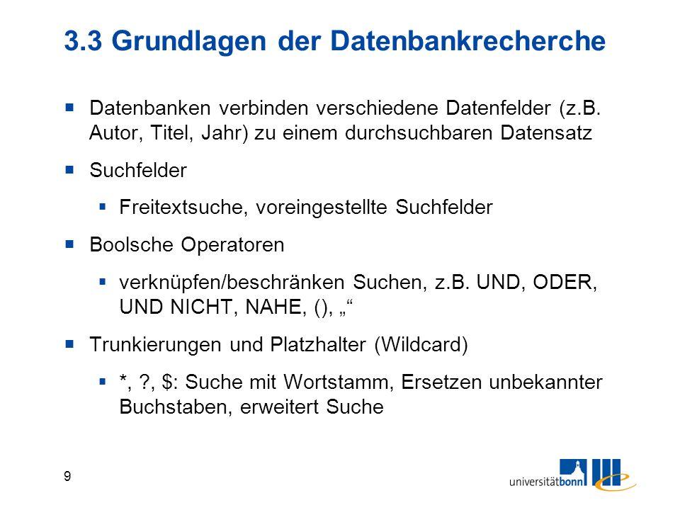 3.3 Grundlagen der Datenbankrecherche