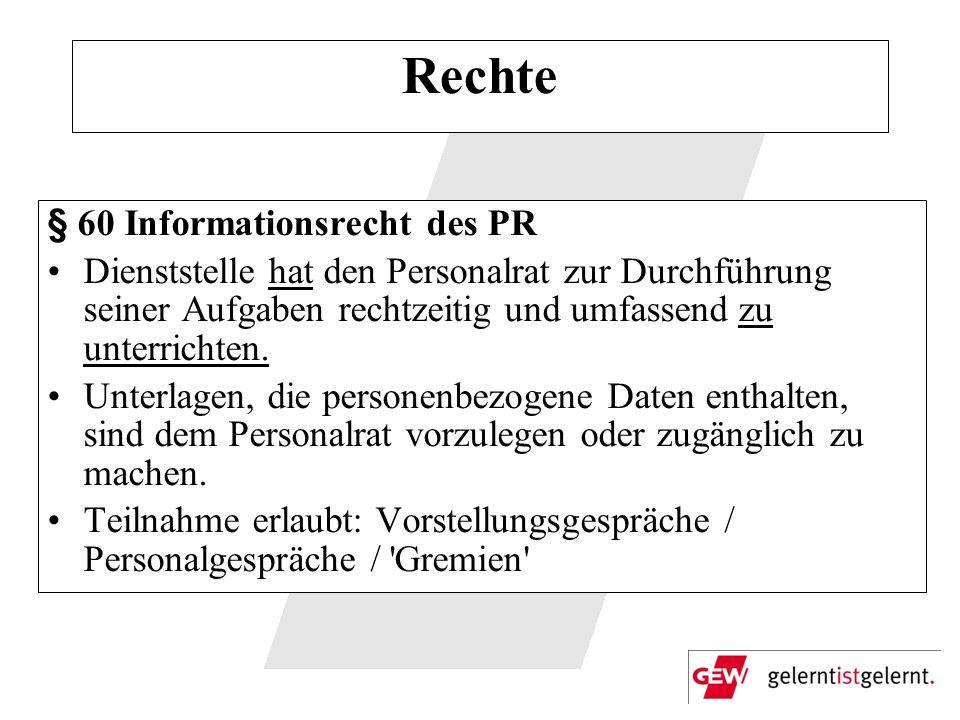 Rechte § 60 Informationsrecht des PR